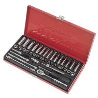 "41pc 1/4"" Sq Drive Socket Set WallDrive®️  - Metric/Imperial"